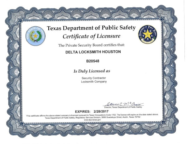 Locksmith License Delta Locksmith Houston