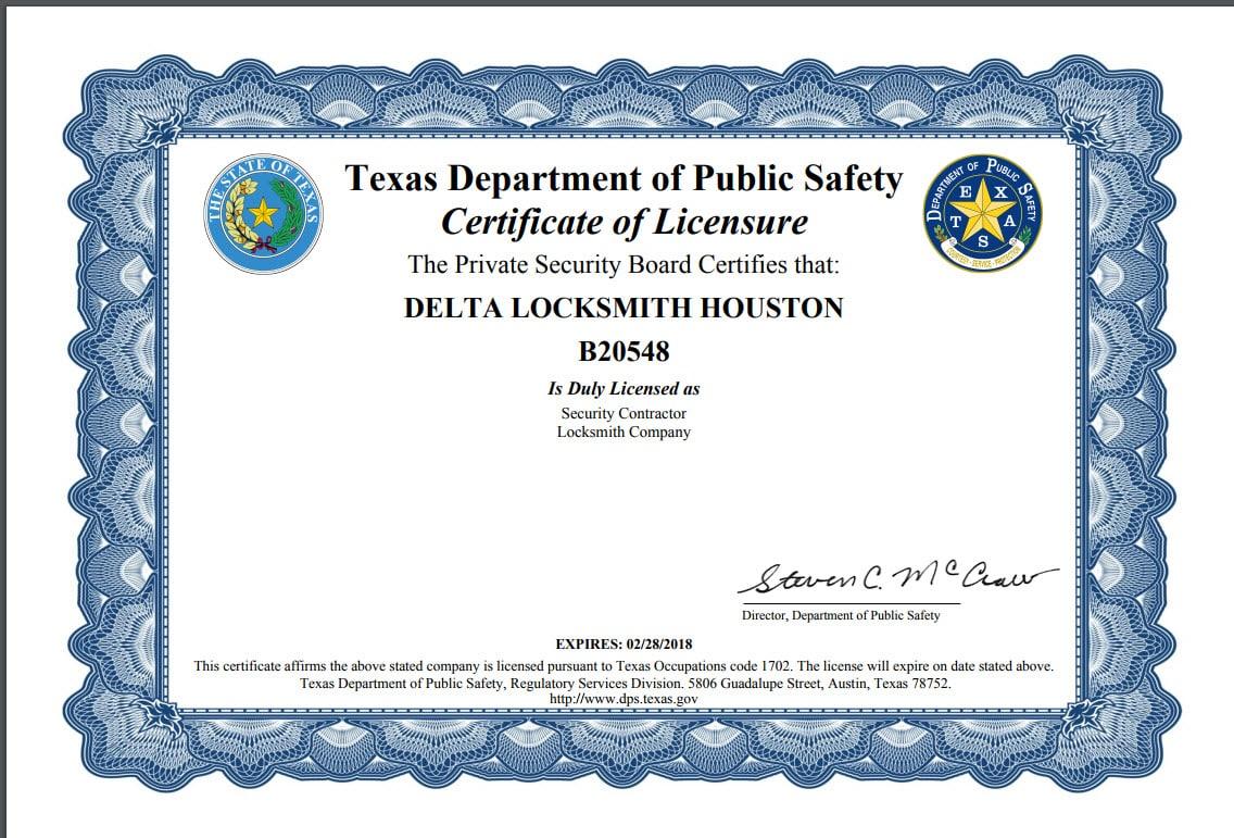 Locksmith License | Delta Locksmith in Houston